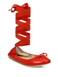 Saks Fifth Avenue Beau Leather Ankle Wrap Ballet Flats Red