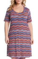 Plus Size Women's Karen Kane Wavy Print A Line T Shirt Dress
