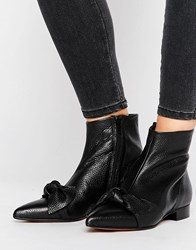 Asos Alabama Leather Pointed Knot Pixie Boots Black Leather