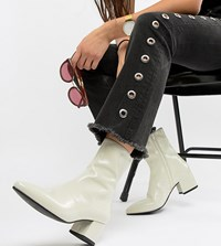 Vagabond Mya Patent Leather Off White Heeled Ankle Boot Off White