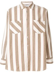 Hope Striped Patch Pocket Shirt Nude And Neutrals