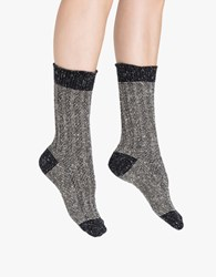 Hue Tweed Twist Ribbed Boot Sock Black