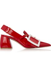 Buckled Patent Leather Slingback Pumps Miu Miu