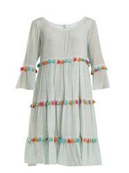 Athena Procopiou Spring Rainbow Tassel Trimmed Tiered Silk Dress Light Green