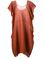 Issey Miyake Pleated Loose Fit Dress Brown