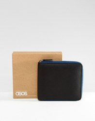 Asos Leather Oversized Zip Around Wallet In Black With Contrast Navy Zip Black
