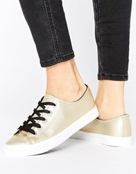 New Look Leather Metallic Contrast Lace Trainers Gold