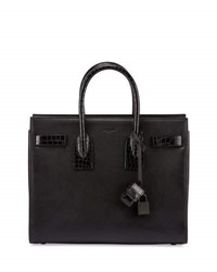 Saint Laurent Sac De Jour Small Stamped Croc Satchel Bag Black