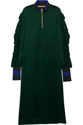Maggie Marilyn I've Built My Life Around You Striped Jersey Trimmed Satin Dress Emerald Usd