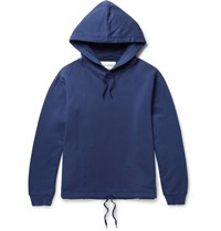 Our Legacy Printed Fleece Back Cotton Jersey Hoodie Blue