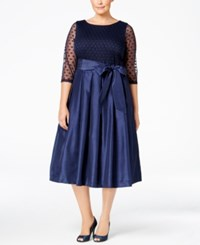 Jessica Howard Plus Size Illusion A Line Dress Navy