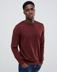 New Look Jumper With Crew Neck In Burgundy Burnt Orange Red