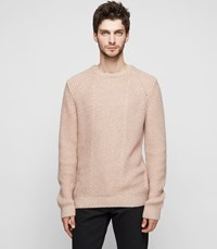 Reiss Mitford Ribbed Crew Neck Jumper In Dusty Pink