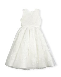 Joan Calabrese Sleeveless Embroidered Tulle Special Occasion Dress Ivory