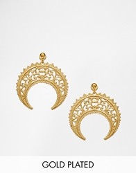 Regal Rose Eastern Crescent Drop Earrings Gold