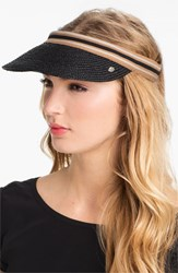 Women's Helen Kaminski 'Marina' Visor Grey Charcoal Black Stripe