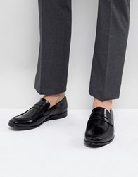 Zign Leather Penny Loafers In Black