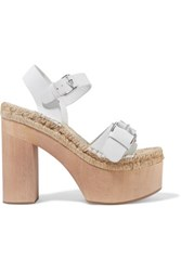 Paloma Barcelo Lucia Buckled Leather Platform Sandals White
