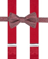 Alfani Men's Mars Speckled Pre Tied Bow Tie And Suspender Set Only At Macy's Red