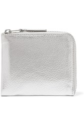 Comme Des Garcons Metallic Textured Leather Wallet Silver
