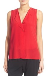 Trouve V Neck Sleeveless Silk Top Red