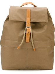 Ally Capellino 'Kelvin' Fold Over Buckle Backpack Nude And Neutrals