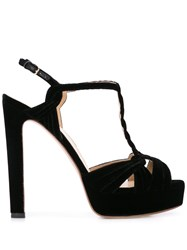 Francesco Russo Braided Velvet Sandals Black