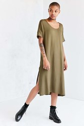Silence And Noise Dolman Woven Midi T Shirt Dress Olive