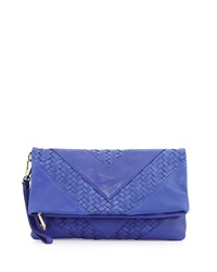 Christopher Kon Fold Over Woven Smooth Clutch Bag Ultramarine