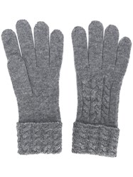 N.Peal Cable Knit Gloves Grey