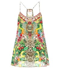 Camilla Embellished Printed Silk Top Multicoloured