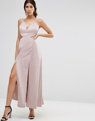 True Decadence Satin Slip Maxi Dress With Thigh Splits Dusty Pink
