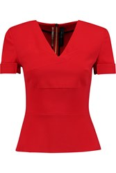 Roland Mouret Josiah Stretch Crepe Top Red