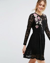 Asos All Over Lace Mini Dress With Floral Embroidery Black