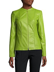 Lafayette 148 New York Denise Zip Front Leather Jacket Grass