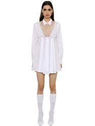Francesco Scognamiglio Embroidered Muslin Dress W Lace Insert
