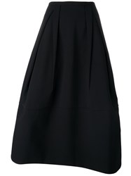 Jil Sander Crepe Inverted Pleat Long Skirt Black