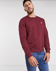 Original Penguin Icon Logo Crew Neck Sweatshirt In Burgundy Red
