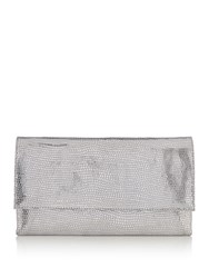 Issa Lucia Leather Clutch Silver