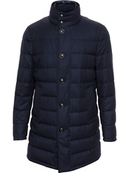 Moncler Flannel Wool Puffa Coat Blue