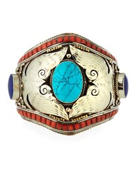 Devon Leigh Turquoise Coral And Lapis Cuff Bracelet