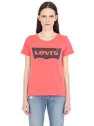 Levi's Logo Print Faded Cotton Jersey T Shirt