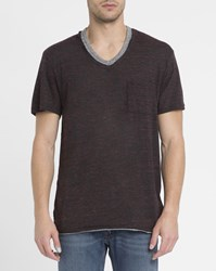 Eleven Paris Mottled Burgundy Batak Double Collar V Neck T Shirt