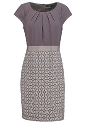 Comma Summer Dress Grey Black Taupe