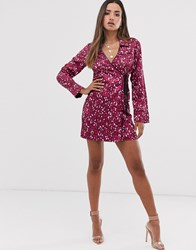 Fashion Union Shirt Dress With Tie Side In Leopard Print Satin Pink