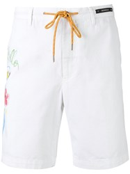 Pt01 Illustrated Drawstring Shorts Men Cotton Linen Flax 54 White