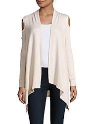 Saks Fifth Avenue Cold Shoulder Open Front Cardigan Oatmeal