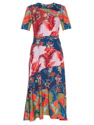 House Of Holland Floral Print Crepe De Chine Dress Multi