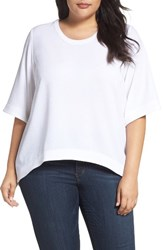 Melissa Mccarthy Seven7 Plus Size Women's High Low Top Bright White