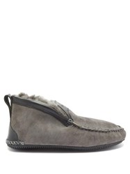 Quoddy Dorm Boot Suede And Shearling Slippers Grey